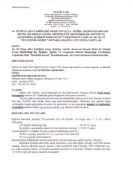Konaklama Bilgileri - Orman Genel Müdürlüğü