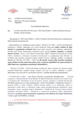 """1/6/2010 tarih 2010/10(1703) sayılı, """"2863 Sayılı Kültür ve Tabiat"""