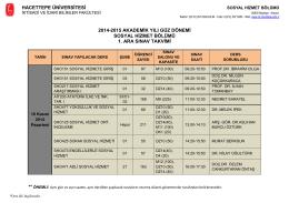 hacettepe üniversitesi 2014-2015 akademik yılı güz dönemi sosyal