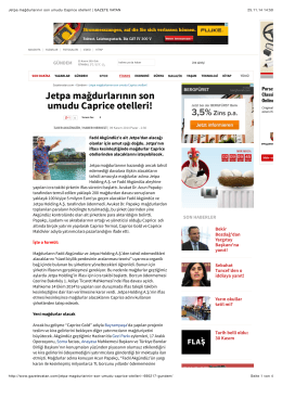 Jetpa mağdurlarının son umudu Caprice otelleri