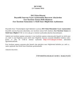 DUYURU 2013 Ekim Dönemi Doçentlik Sınavına Yayın