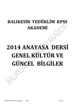 2014 anayasa dersi genel kültür ve güncel bilgiler