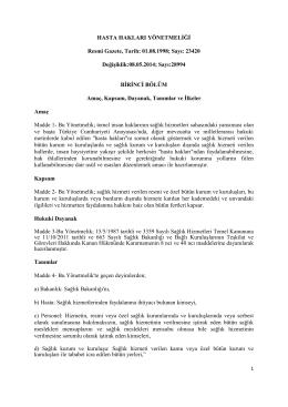 Hasta Hakları Yönetmeliği - Mersin Sağlık Müdürlüğü