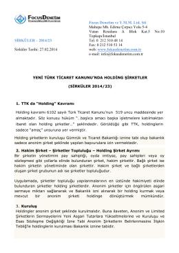 2014-23 yeni türk ticaret şirketinde holding şirketler