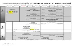 2013-14 Bahar DERS PROGRAMI-İKİNCİ ÖĞRETİM