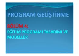 EGITIM PROGRAMI TASARIMI ve MODELLER