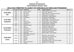 2014-2015 öğretim yılı şubat ayı sorumluluk sınavları programı