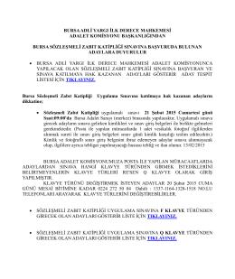 Bursa Sözleşmeli Zabıt Kâtipliği Başvuru Listesi.