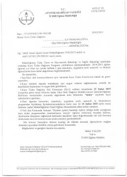 Müdürlüğümüzün konu ile ilgili 20/02/2015 tarih ve 1950188 sayılı