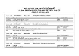 03 Mart 2015 TARİHLİ KIRIKKALE-SEYMEN İHALESİ