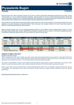 Piyasalarda Bugün - Türkiye İş Bankası