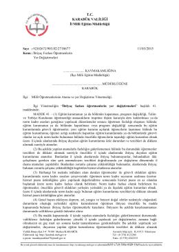 T.C. KARABÜK VALİLİĞİ İl Milli Eğitim Müdürlüğü 11/03/2015