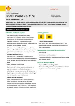 Page 1 Teknik Bilgi Formu Eski İsmi : Shell Corena P Shell Corena