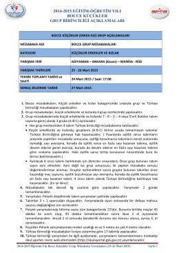 2014-2015 bocce küçükler (erkek-kız) grup açıklamaları