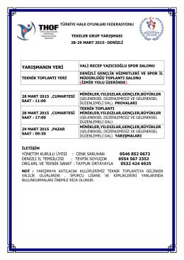 denizli grup yarışması programı - Türkiye Halk Oyunları Federasyonu
