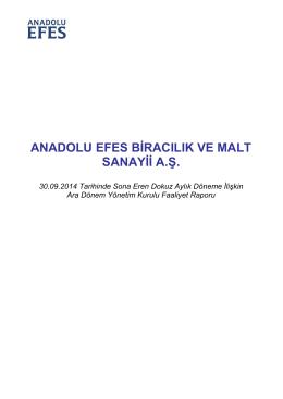 ANADOLU EFES BİRACILIK VE MALT SANAYİİ A.Ş.