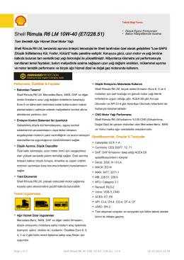 Page 1 Teknik Bilgi Formu Shell Rimula R6 LM 10W