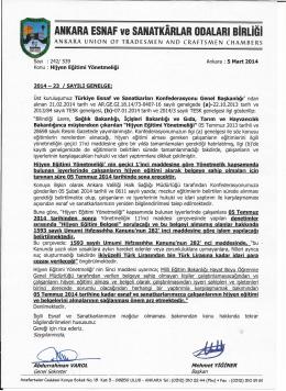 genelge no 023 - Ankara Ve Esnaf Sanatkarları Odaları Birliği