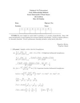 Gıda Mühendisliği Bölümü Genel Matematik