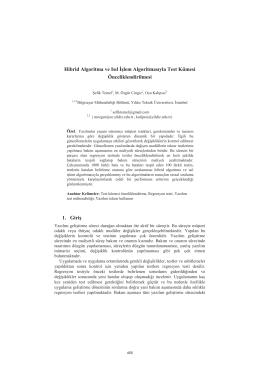 Hibrid Algoritma ve Isıl İşlem Algoritmasıyla Test - CEUR