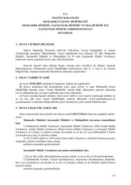 03-01-2015 tarihinde yapılacak olan Muhasebe Müdürü, Saymanlık
