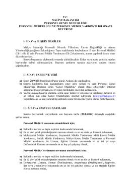 Personel Müdürlüğü ve Personel Müdür Yardımcılığı Sınavı