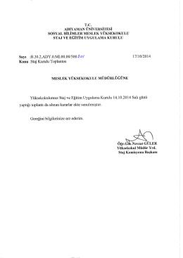 ekim 2014 staj kurul kararı - Sosyal Bilimler Meslek Yüksekokulu