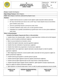 Anabilim dalı başkanı görev tanımı (GT-29)