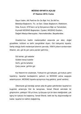 27 Haziran 2014 MÜSİAD Isparta Açılış Konuşması