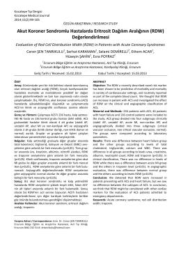 RDW - Kocatepe Tıp Dergisi