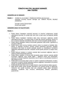 Türkiye Multipl Skleroz Derneği Ana Tüzüğü PDF formatında olup