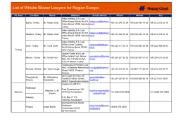 Whistleblower Lawyers Region Europe - Hapag