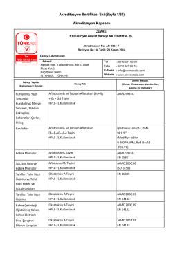 Akreditasyon Sertifikası Eki (Sayfa 1/20) Akreditasyon Kapsamı