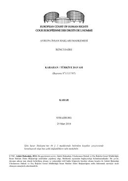 25 Mart 2014 tarihli Karahan v. Türkiye Başvurusu