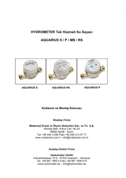 HYDROMETER Tek Hüzmeli Su Sayacı AQUARIUS S / P / MB / RS