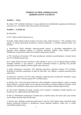 Akreditasyon Talimatı - Türkiye Futbol Federasyonu
