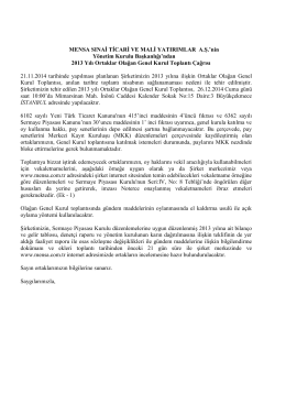 21 Aralık 2014 Tarihli, 2013 Yılı Olağan Genel Kurul