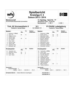 Spielbericht - FV PAOK Ludwigsburg