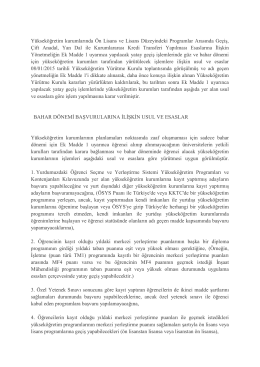 Yükseköğretim kurumlarında Ön Lisans ve Lisans Düzeyindeki