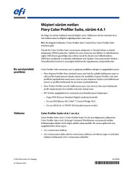Müşteri sürüm notları Fiery Color Profiler Suite, sürüm