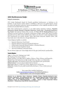 II. Konferans: 3-5 Nisan 2015, Hamburg 2015 Konferansına Ça rı ğ