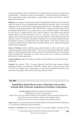 PA–061 Bingöl İlinde Doğal Olarak Yetişen Tıbbi Değer Taşıyan