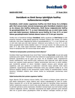DenizBank ve Simit Sarayı işbirliğiyle fastPay kullanıcılarına müjde!