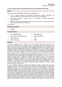 Horizon 2020 Programı Ulusal İrtibat Kuruluşunun