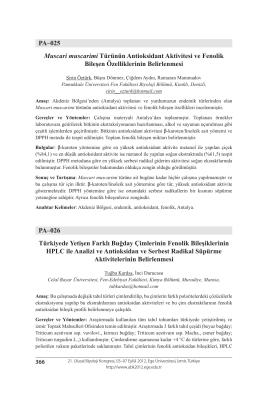 PA–025 Muscari muscarimi Türünün Antioksidant Aktivitesi ve