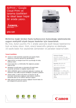 AirPrint / Google Cloud Print ve tarama özellikleri ile