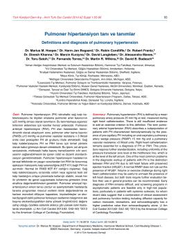 Pulmoner hipertansiyon tanı ve tanımlar