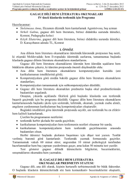 GAGAUZ DİLİ HEM LİTERATURA OKUMAKLARI IV