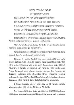 20 Haziran 2014 MÜSİAD Karabük Açılış Konuşması