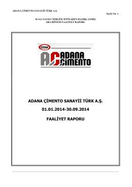 ADANA ÇİMENTO SANAYİİ TÜRK A.Ş. 01.01.2014